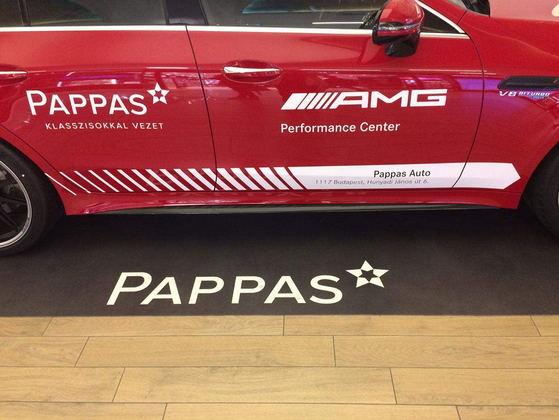 PAPPAS bemutató autó | Cleartex kreatív logós padlóburkolat